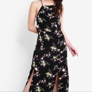 Topshop Black Floral Lace Up Back Dress Size 8